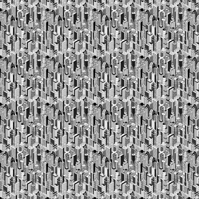 Skyscraper City Seamless Pattern (large) is hand drawing of different high-rise buildings like Manhattan in isometric projection. Illustration is in eps8 vector mode. Vinyl custom-made wallpaper - New York