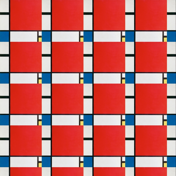 Piet Mondrian - Composition II in Red, Blue and Yellow Vinyl Custom-made Wallpaper