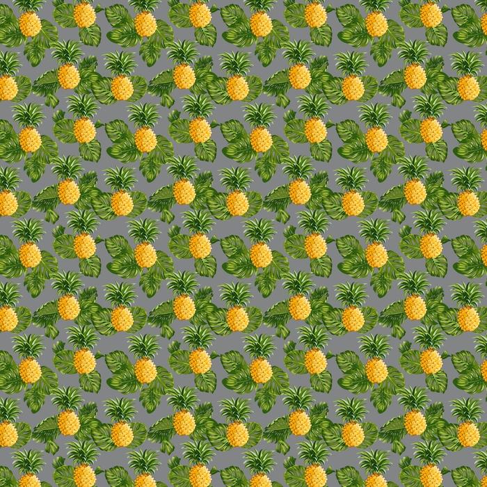 Vinyl behang, op maat gemaakt Ananas en tropische Achtergrond van Bladeren -