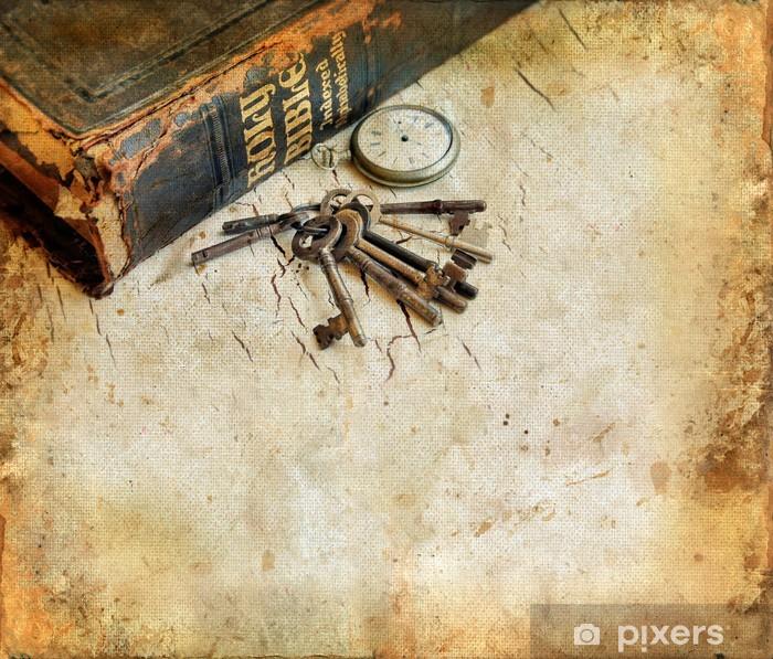 Pixerstick Sticker Vintage Bijbel met pocketwatch en sleutels grunge achtergrond - Stijlen