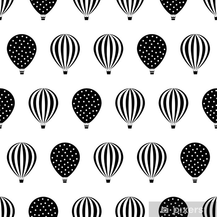 Hot air balloon seamless pattern. Baby shower vector illustrations isolated on white background. Polka dots and stripes. Black and white hot air balloons design. Pixerstick Sticker - Transport