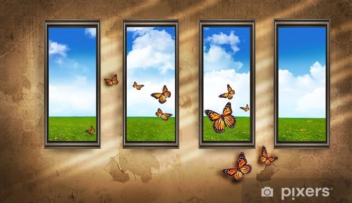 Fotobehang grungy donkere kamer met ramen en vlinders en de blauwe