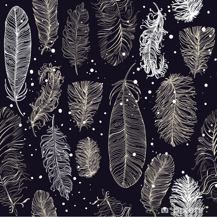 seamless pattern with beautiful feathers Pixerstick Sticker - Graphic Resources