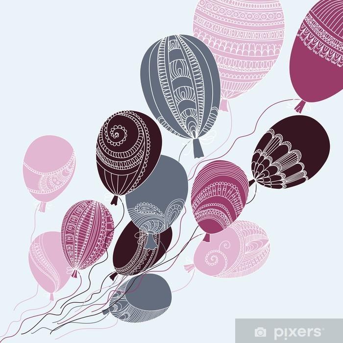 Carta da Parati in Vinile Illustrazione con palloncini volanti colorati - Per cameretta