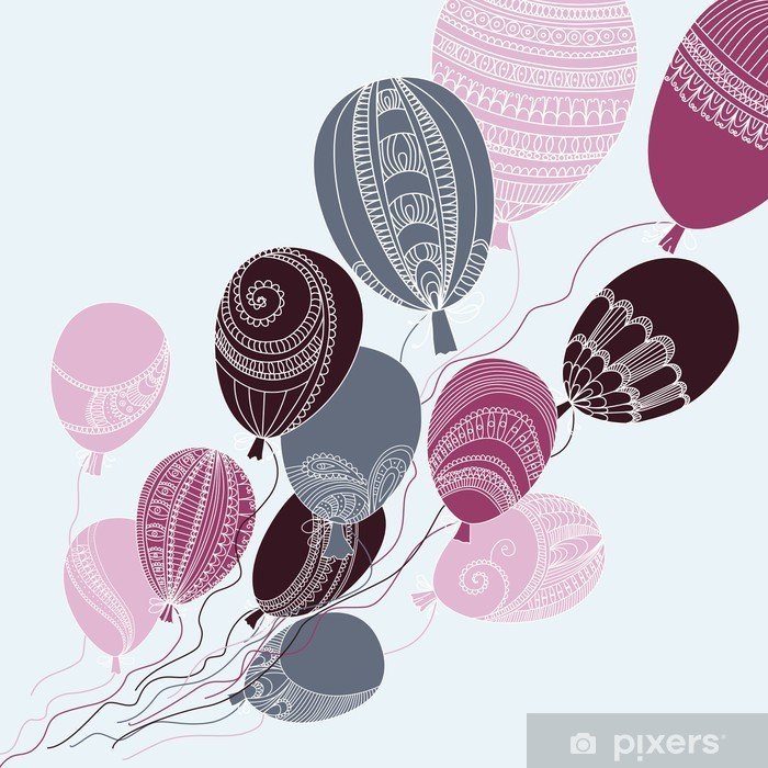 Illustration with colorful flying balloons Vinyl Wall Mural - Kids room
