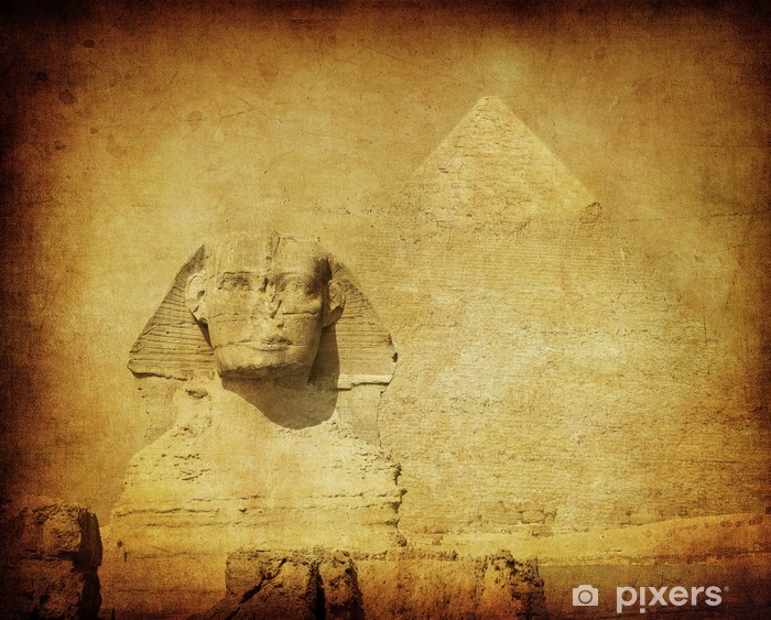 Naklejka Pixerstick Obraz grunge sfinksa i piramidy - Afryka