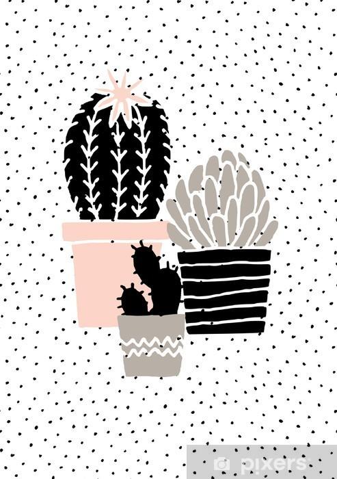 Naklejka Pixerstick Wyciągnąć rękę Cactus Plakat - Zasoby graficzne