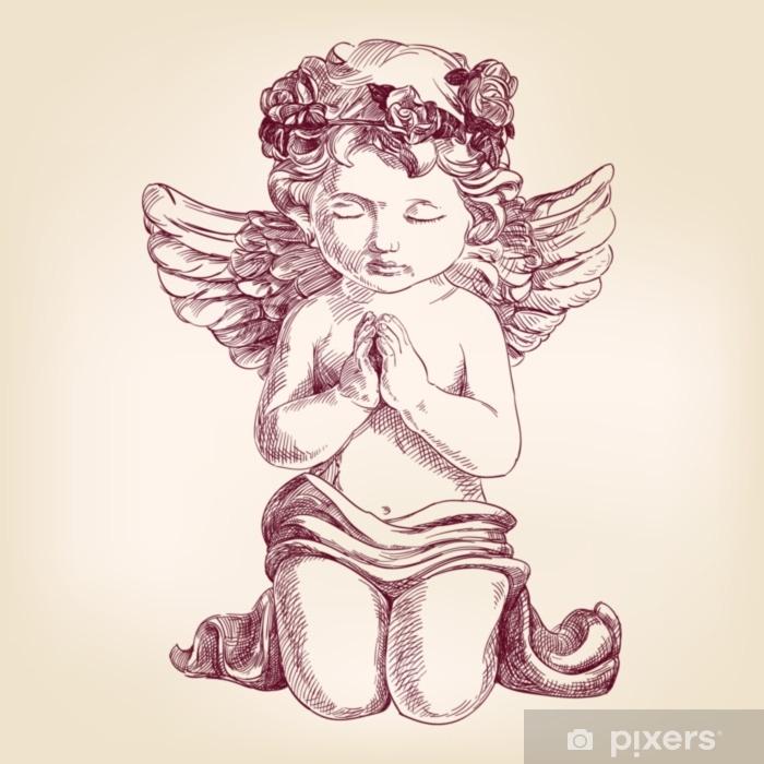 Sticker Pixerstick Ange prie sur ses genoux esquisse réaliste d'illustration vectorielle vecteur dessiné à la main - Culture et religion