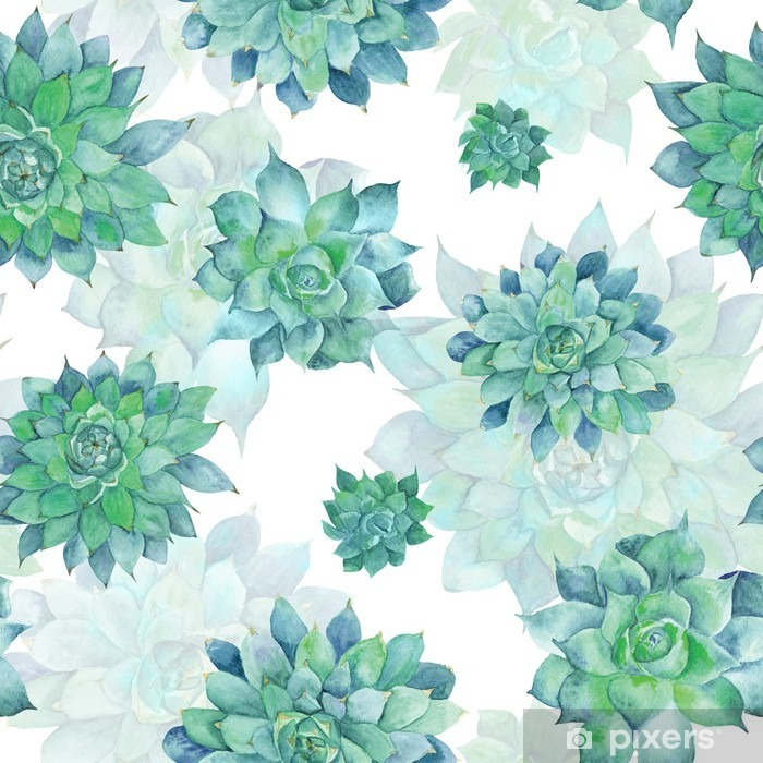 Watercolor Turquoise Succulent Pattern Vinyl Wall Mural - Plants and Flowers