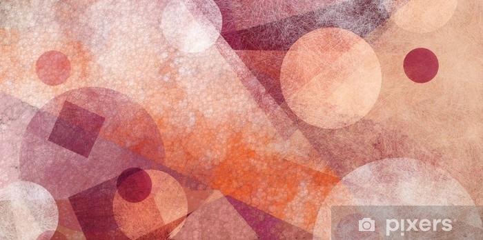 Papier peint vinyle Conception de fond géométrique moderne abstrait avec diverses textures et formes, des cercles flottants carrés des diamants et des triangles dans les couleurs orange blanc et rose bourgogne, mise en page de composition artistique - Ressources graphiques