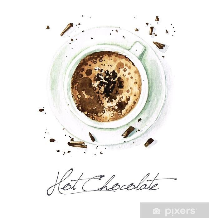 Fototapeta winylowa Akwarela żywności Malarstwo - Hot Chocolate - Napoje