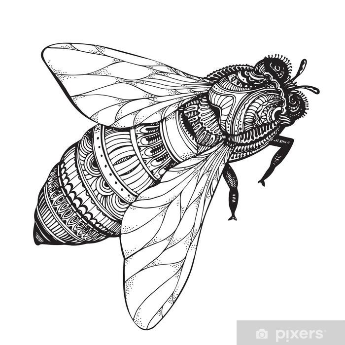 Fototapete Hand Gezeichnet Honigbiene In Zentangle Art