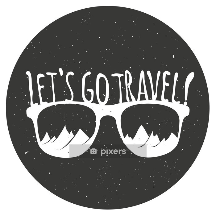 Hand drawn style typography poster with sunglasses, mountains and quote. Wall Decal - Travel