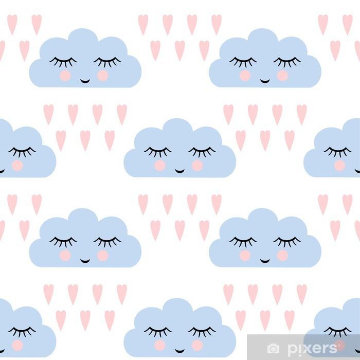 Vinyl Fotobehang Wolken patroon. Naadloos patroon met lachende slapen wolken en hart voor de kinderen vakantie. Schattige baby shower vector achtergrond. Child tekenstijl regenachtige wolken in de liefde vector illustratie. - Grafische Bronnen