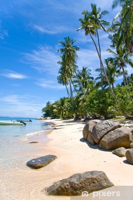 Pixerstick Aufkleber Palmenstrand Felsen - Urlaub