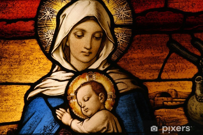 Stained glass depicting the Virgin Mary holding baby Jesus Table & Desk Veneer - Holy Family