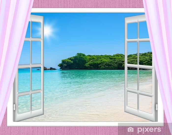 Papier peint vinyle Ocean fenêtre de vue - Propriétés privées