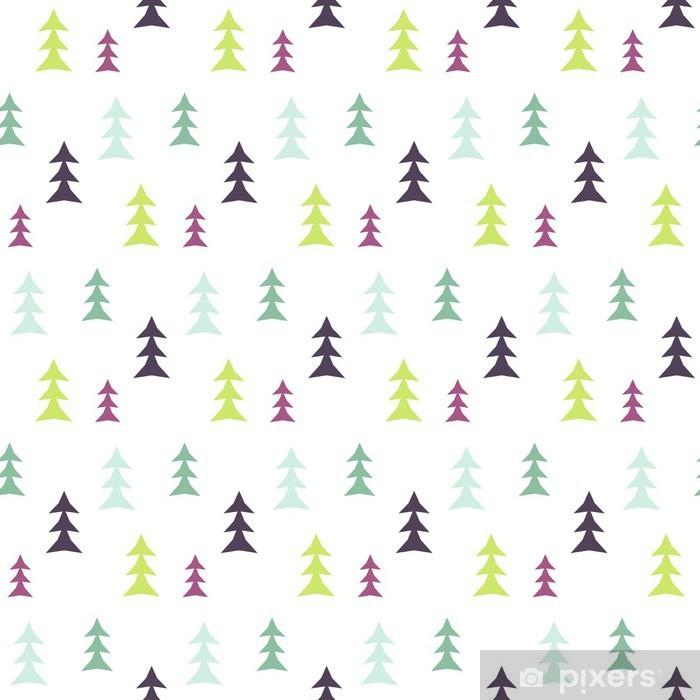 Sticker Résumé forêt multicolore pin seamless pattern. Vector tree fond d'impression textile en tissu. Scandinavian style simple. Pixerstick