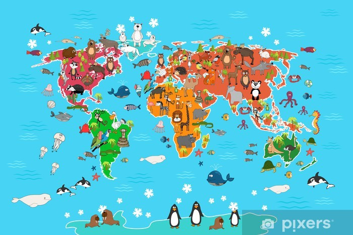 World Map With Animals Monkey And Hedgehog Bear And Kangaroo Hare