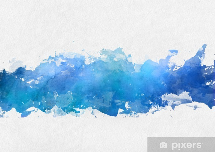 Pixerstick Sticker Artistieke blauwe aquarel splash effect template - Ontspanning