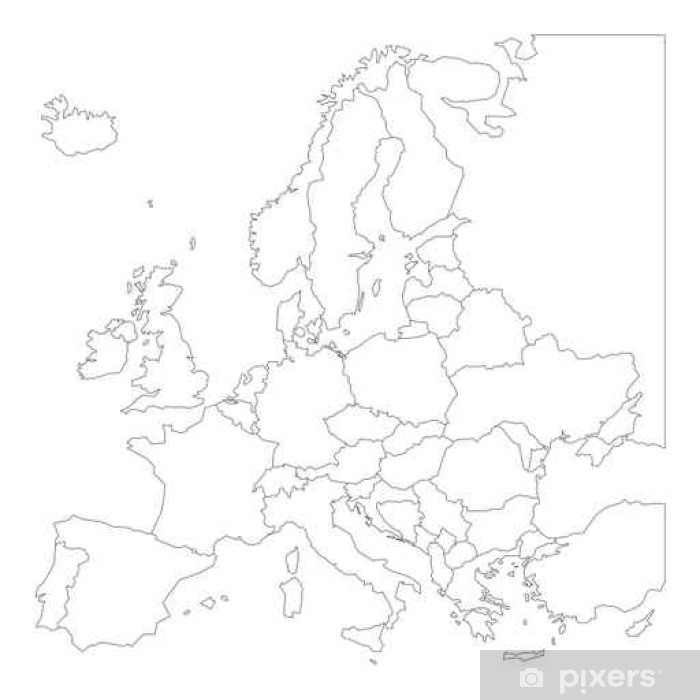 Blank Outline Map Of Europe Wall Mural Pixers We Live To Change