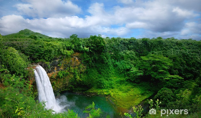 Lush Green Landscape Waterfall On The Hawaiian Islands Wall Mural
