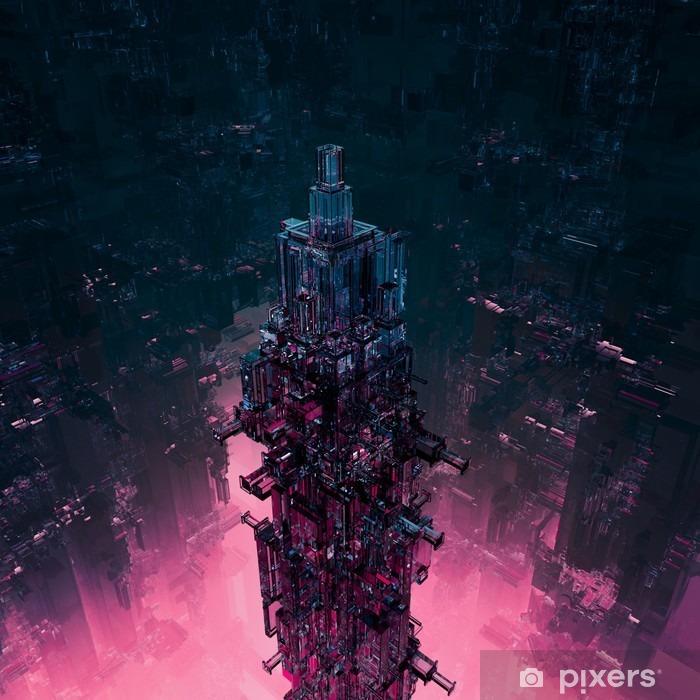 Pixerstick Sticker Glas technocore stad / 3D render van futuristische science fiction structuur - Gebouwen en Architectuur