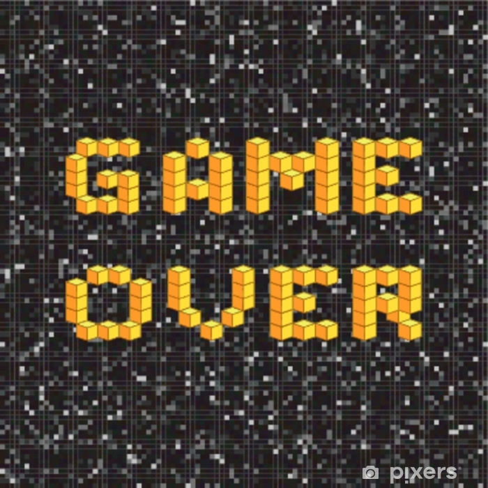 Game over screen, old school gaming poster, failure concept Pixerstick Sticker - Hobbies and Leisure