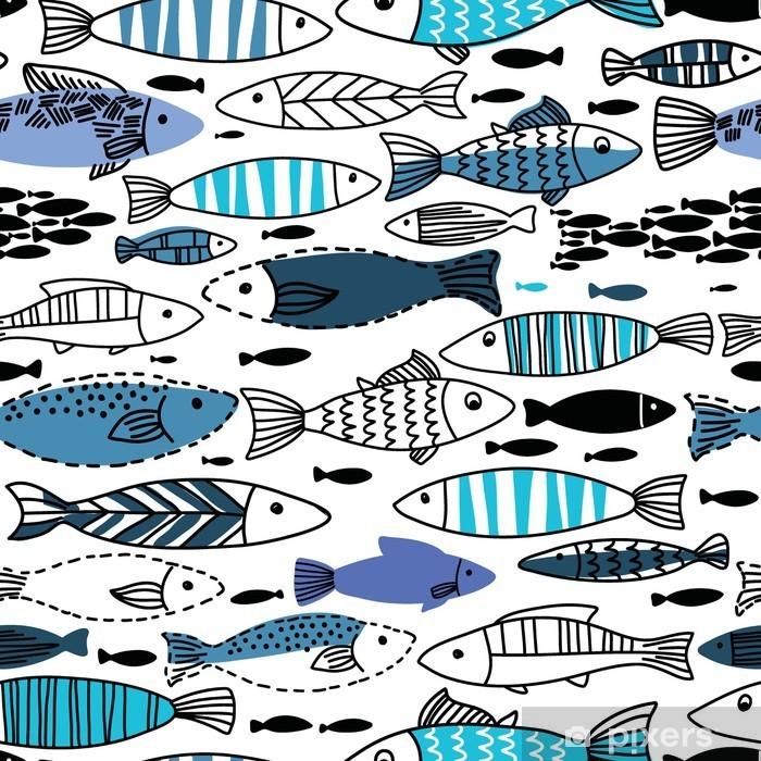 Kapı Çıkartması Balıklar ile Sualtı sorunsuz desen. Dikişsiz desen duvar kağıtları, web sayfası arka planları için kullanılabilir - Hayvanlar