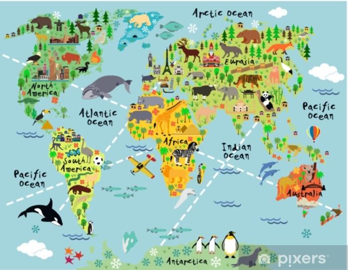 Carta da Parati in Vinile Mappa del mondo dei cartoni animati - Animali