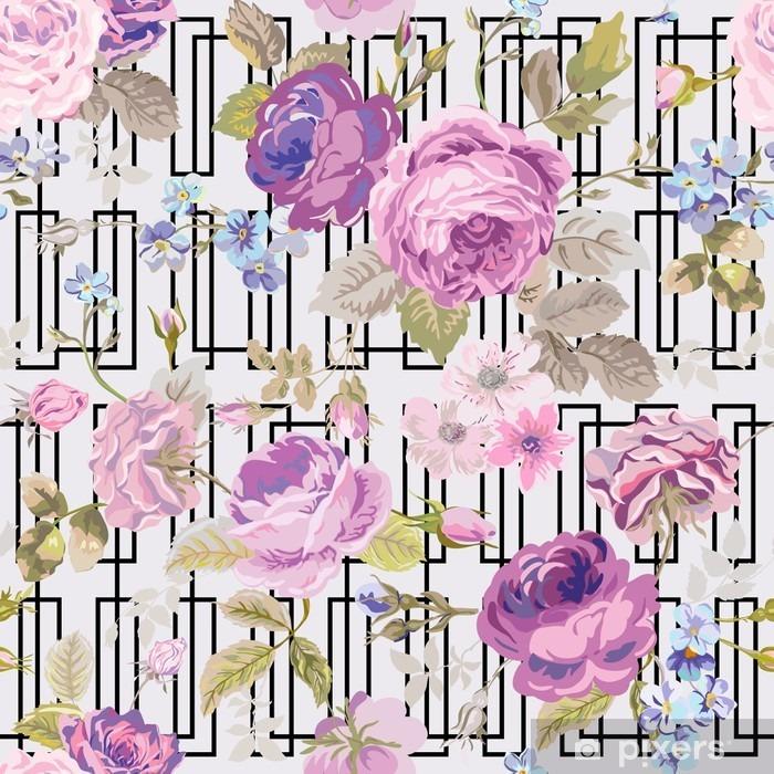 Vinyl Fotobehang Spring Flowers geometrie achtergrond - Seamless Floral Shabby Chic - Bloemen en Planten