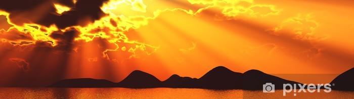 Auringonlasku banneri auringonpaiste auringonsäde sunray aurinko saari Vinyyli valokuvatapetti - Taivas