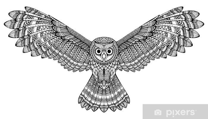 Aufkleber Vector Hand Fliegenden Eule Gezeichnet Schwarz Weiß Zentangle Kunst Pixerstick