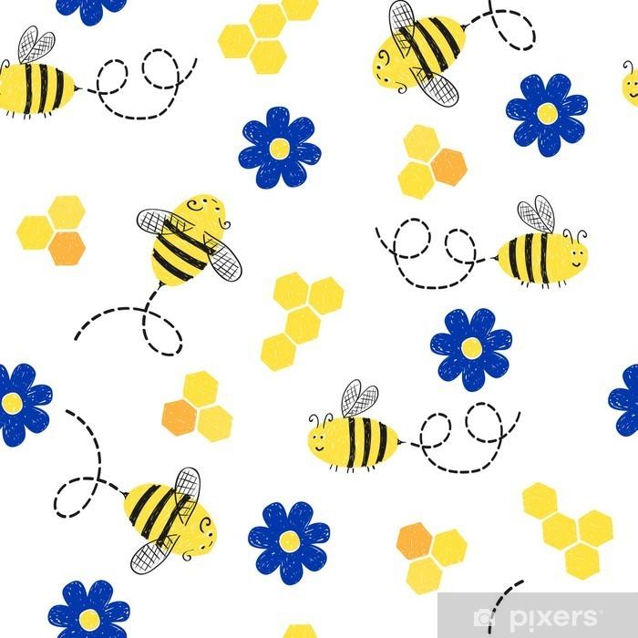Fototapeta winylowa Jednolite wzór z cute pszczół i kwiatów. - Zwierzęta