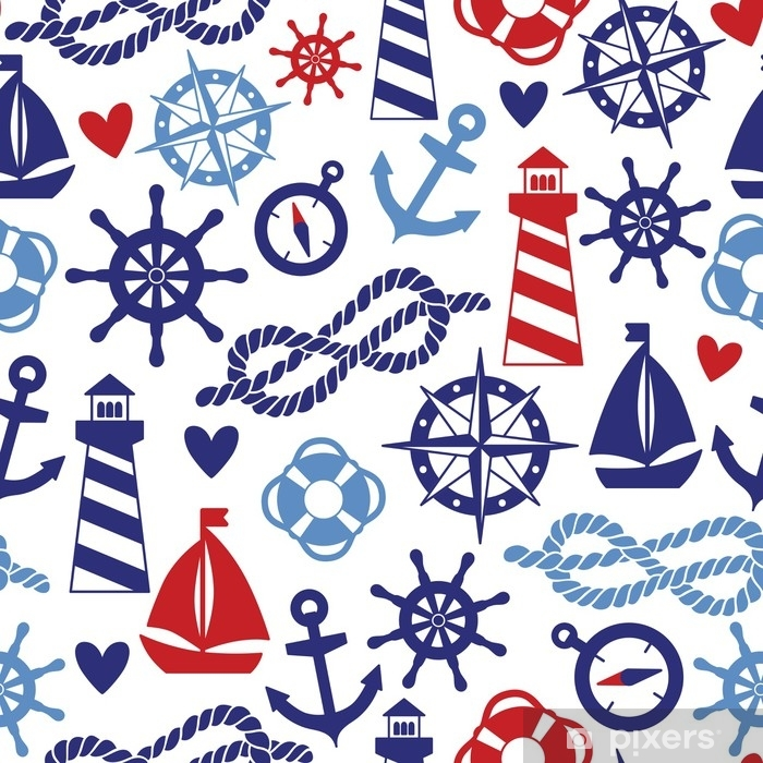 Vector seamless pattern with sea elements: lighthouses, ships, anchors. Can be used for wallpapers, web page backgrounds Vinyl Wall Mural - Landscapes