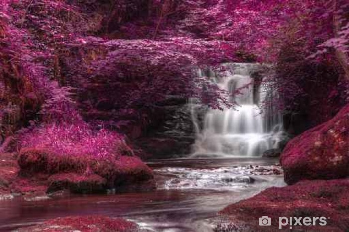 Fotomural Estándar Hermoso color alternativo cascada paisaje surrealista - Paisajes
