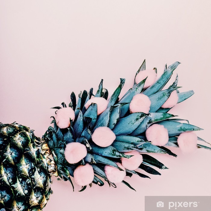 Life in pink. Pineapple background. minimal style Vinyl Wall Mural - Food