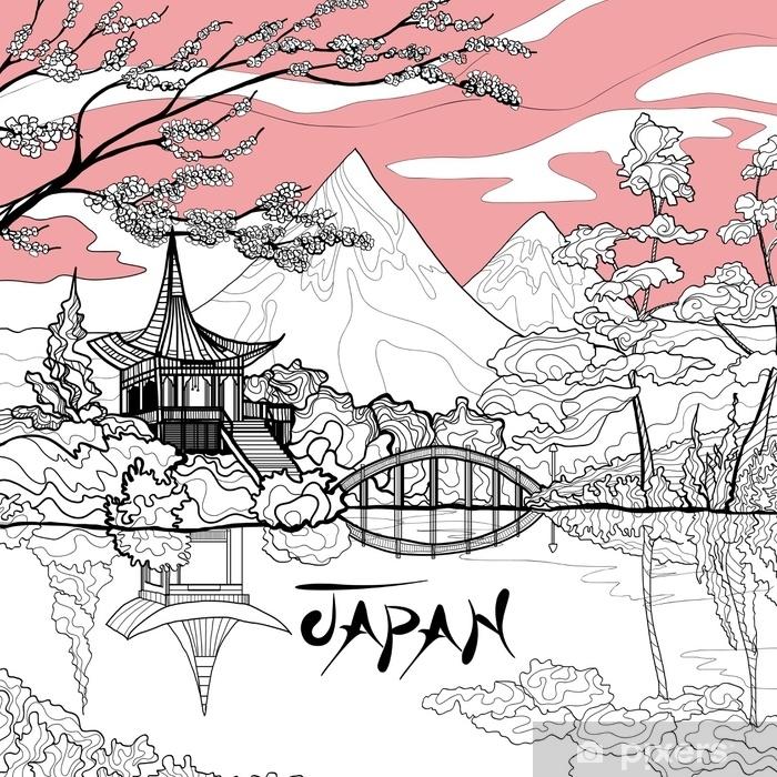 Zelfklevend Fotobehang Japan landschap achtergrond - Gebouwen en Architectuur