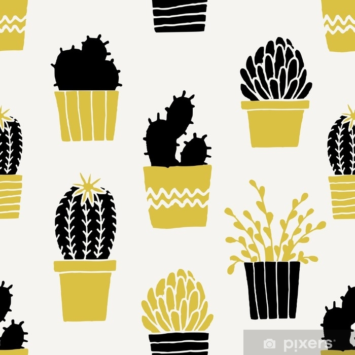 Hand Drawn Cactus Pattern Vinyl Wall Mural - Graphic Resources