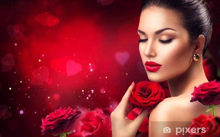 Parati Carta Con Romantica Bellezza Fiori Da Rosa Donna RossaSan q35AcRjLS4