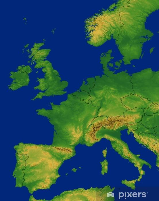 Vesteuropa Kort Med Terraen Fototapet Pixers Vi Lever For