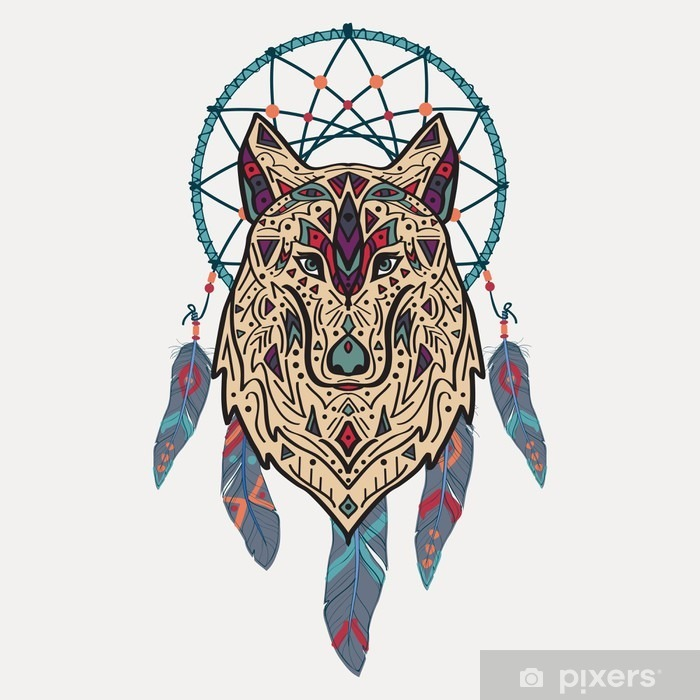 Vector colorful illustration of tribal style wolf with ethnic ornaments and dream catcher. American indian motifs. Totem tattoo. Boho design. Vinyl Wall Mural - Animals