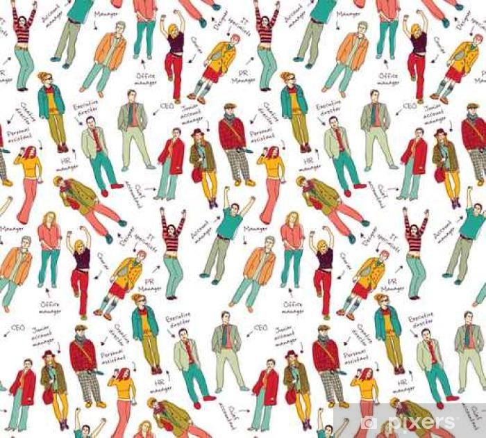Poster Affaires équipe de l'entreprise avec les gens après la couleur seamless pattern. - Ressources graphiques