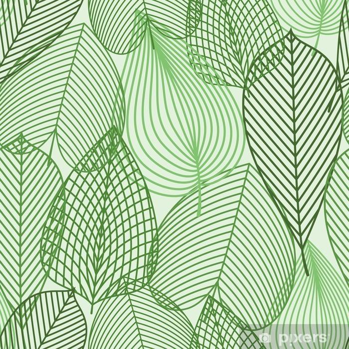 Fototapeta samoprzylepna Wiosną zielone liście szwu wzór -