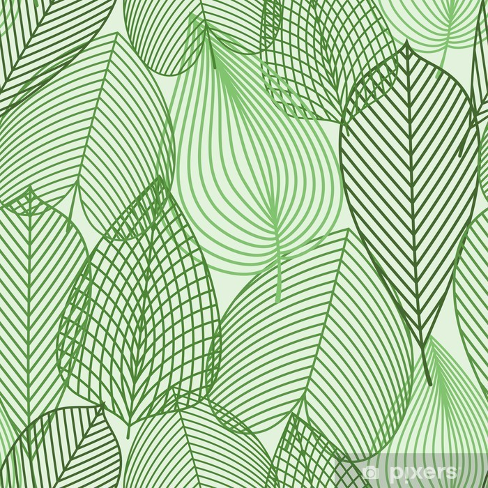 Plakat w ramie Wiosną zielone liście szwu wzór -