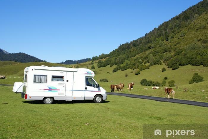 Sticker Pixerstick Camping car et chevaux - Vacances