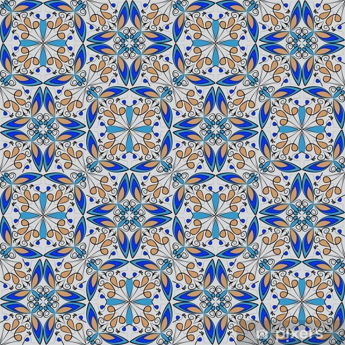 Fototapeta Winylowa Dobra Kolorowe Orientalne Dywan Lub Ozdoba Ceramiczne W Kolorze Pomarańczowym I Niebieskim Z Białymi Krzywych Na Czarnym Tle