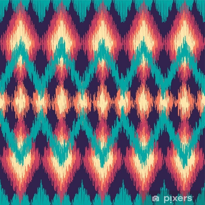 Vector colorful seamless ikat ethnic pattern. Zigzag graphic elements. Pixerstick Sticker - Graphic Resources