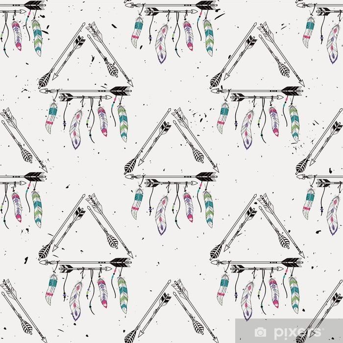 Adesivo Pixerstick Vector astratto grunge seamless con cornici tribali con le frecce etnici e piume. motivi indiani d'America. stile Boho. - Risorse Grafiche