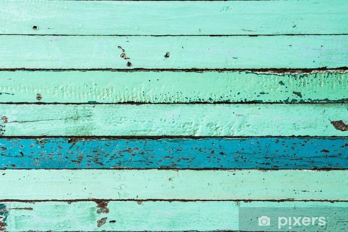 Naklejka Pixerstick Vintage niebieskie tło drewna - Zasoby graficzne